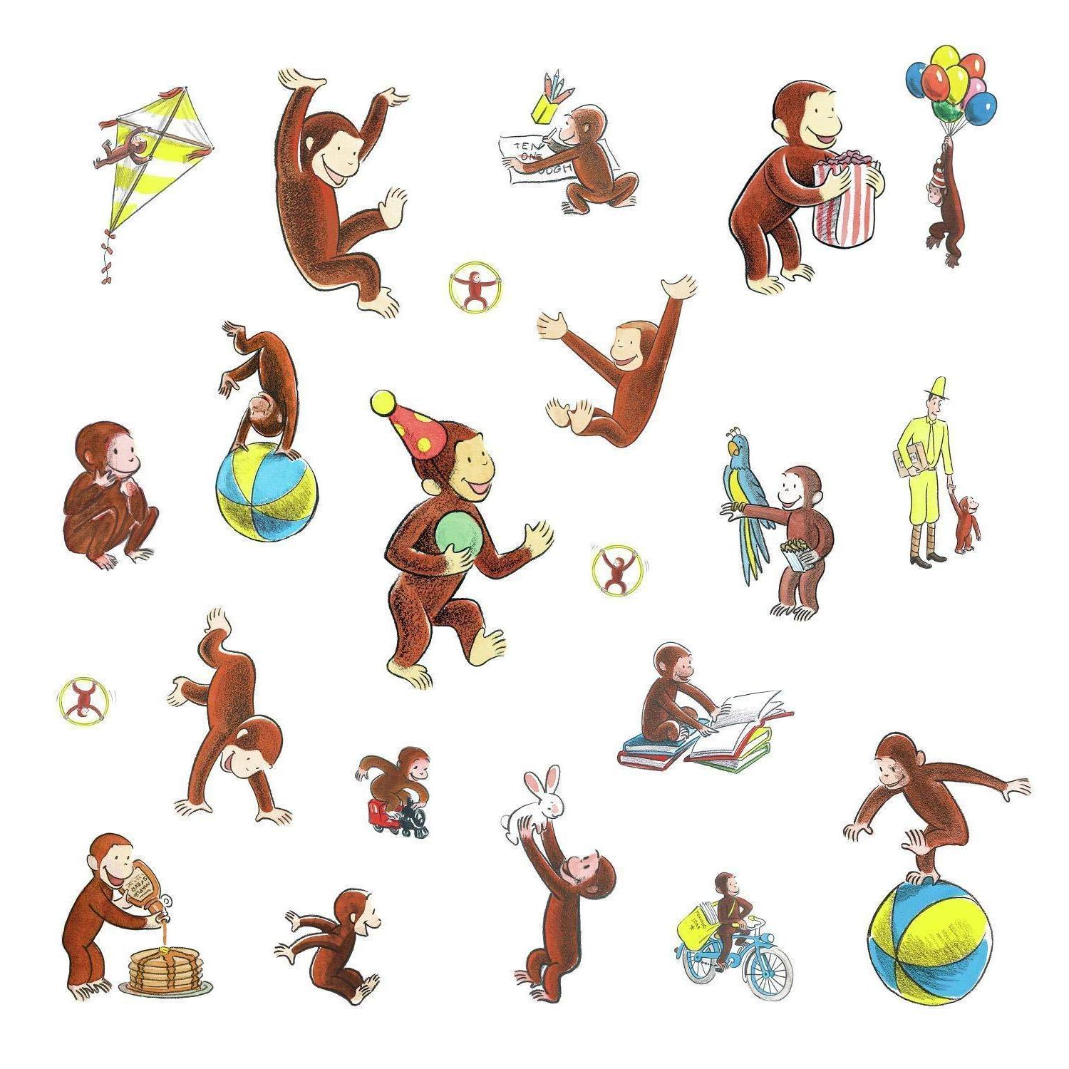 CURIOUS GEORGE Wall Decals Monkey Room Decor Stickers Baby N