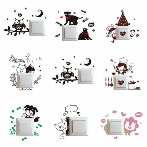 Cute Cartoon Light Switch Socket Wall Stickers Decor Decals Mural Car Room Home