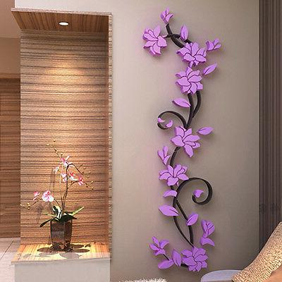 DIY 3D Home Living Room Decor Flower Removable Wall Sticker