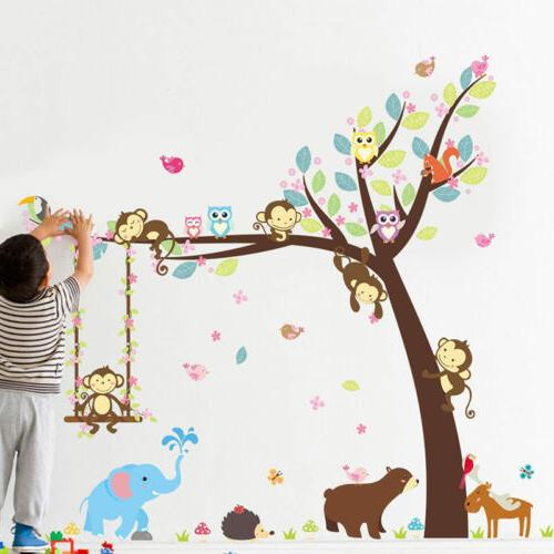 DIY Monkey Animal Wall Stickers Jungle Zoo Tree Nursery Baby