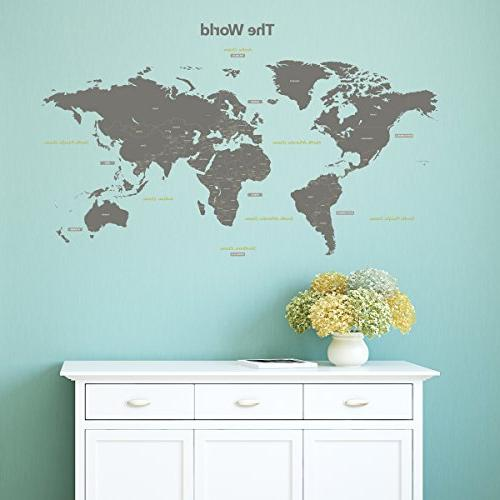 Decowall DL-1509G World Wall Decals Wall and Stick Removable Wall Stickers for Bedroom