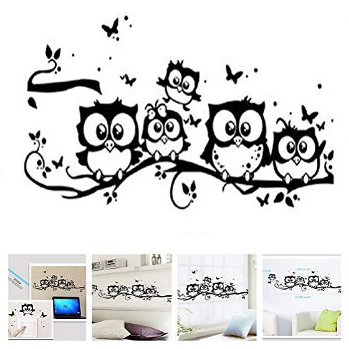 family owls tree branches wall