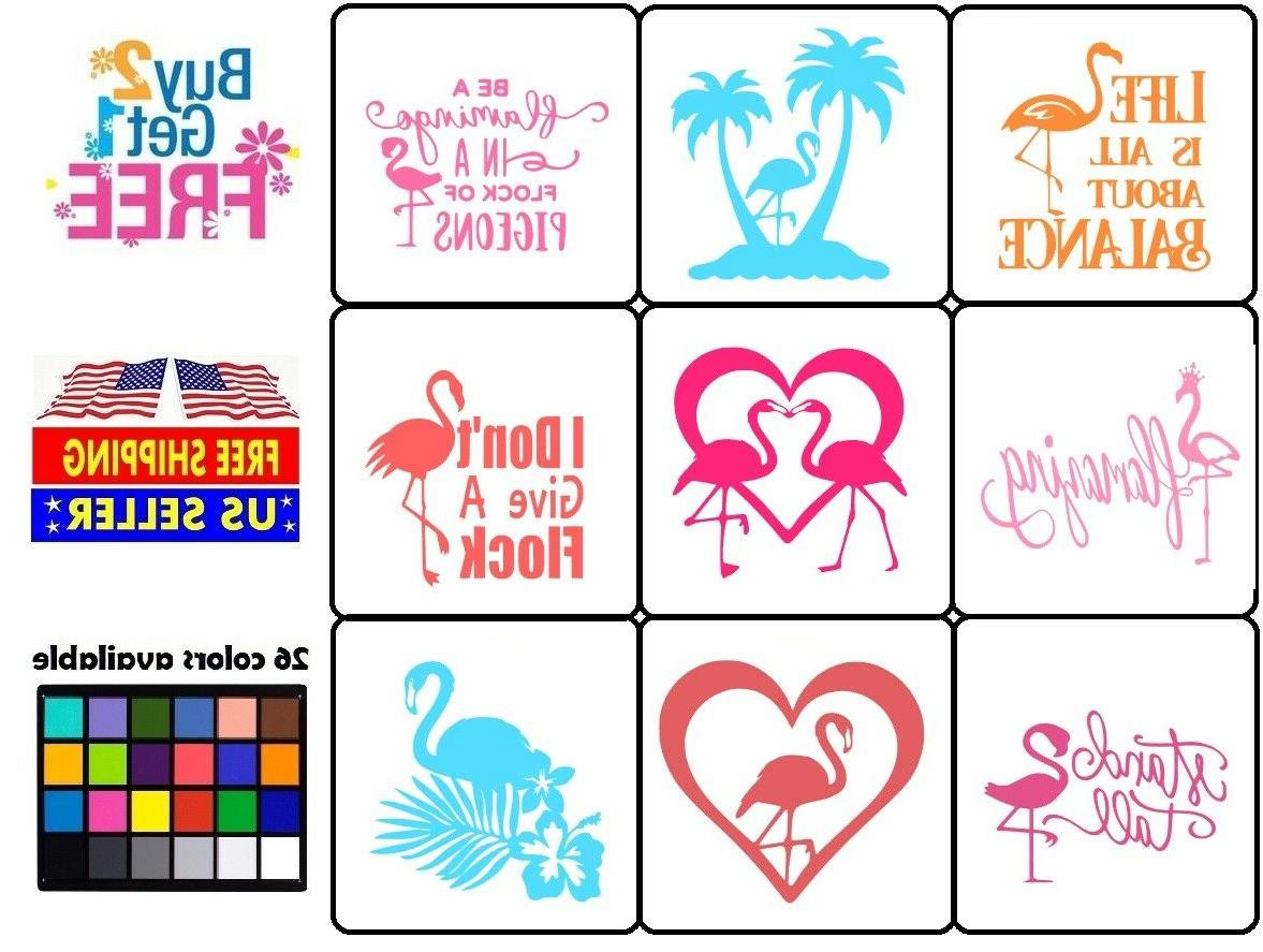 flamingo stand tall with heart vinyl decal