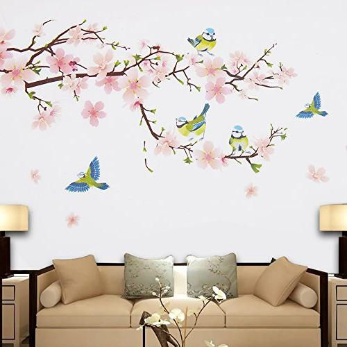 Wopeite Floral Wall Decal Flower Branch Instant Sticker Living Bedroom X 60 cm