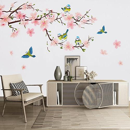 Wopeite Sticker Self Flower Peach Branch Instant Sticker Bedroom X 60 cm