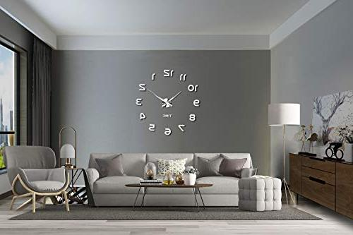 Vangold Frameless Clock, 3D Mirror Large Mute Stickers for Living Bedroom Home Decorations