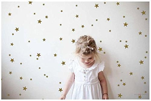 Gold Stars Wall Decal Stars Stickers Removable Home Metallic Vinyl Decor Sticker for Baby Kids