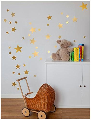 Gold Stars Stars Pattern DIY Wall Stickers Removable Decoration Metallic Polka Decor for Baby Kids
