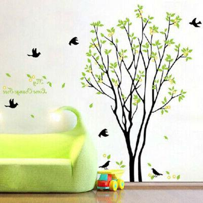 Green Tree & Bird Wall Stickers PVC Art Decals Removable Hom