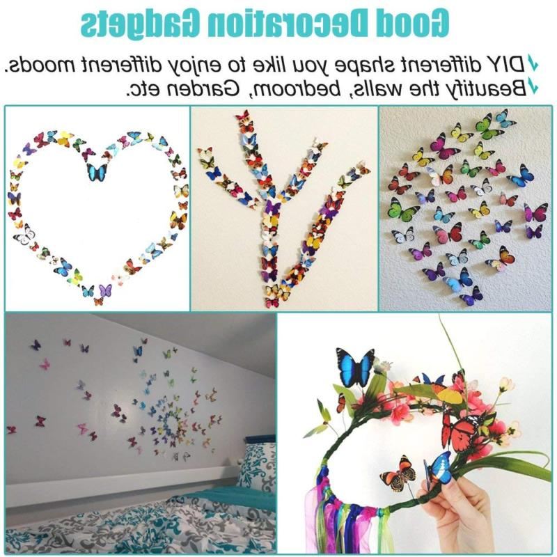 Heansun 80 PCS Wall Decal Butterfly, Sticker Decals for Room Nursery Decor