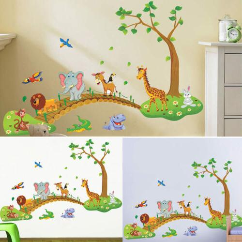 New Jungle Animal Tree Removable Wall Decals Sticker Kids Ba