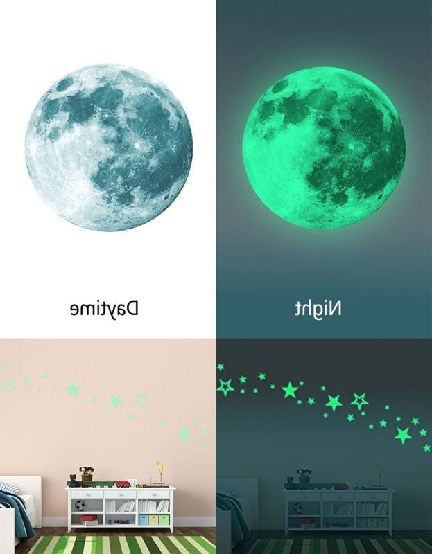 Kids Removable Moon Glow The Sticker Luminous Wall Decal