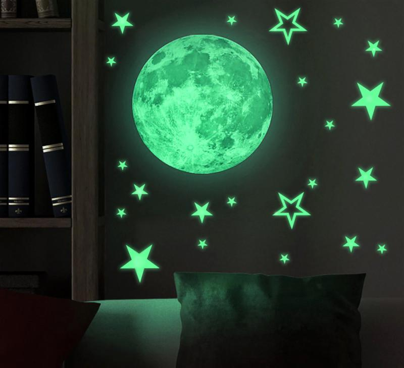 kids removable moon star glow in