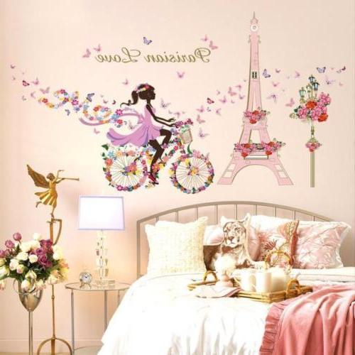Leaves Flowers Girl Decor DIY Removable Wall Bedroom Backdrop