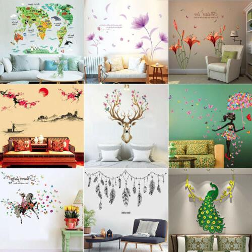 leaves flowers girl decor diy removable wall