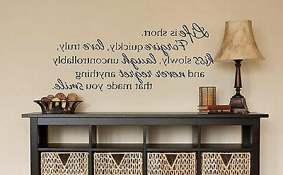 life is short wall art decal quote