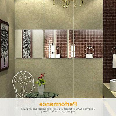 6 Squre Mirror Tile Wall Stickers Room Makeup