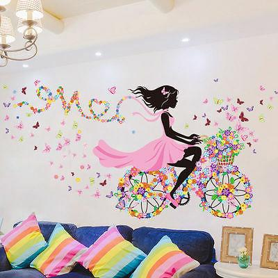 Removable Bicycle Flower Girl Vinyl Art Wall Sticker Mural H