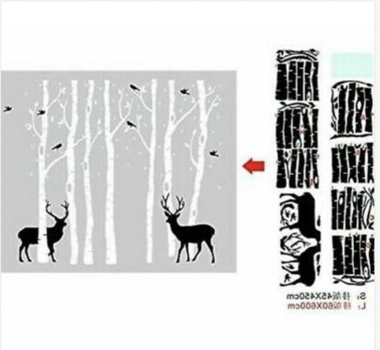 Removable Huge Black Birds Forest Wall Decals