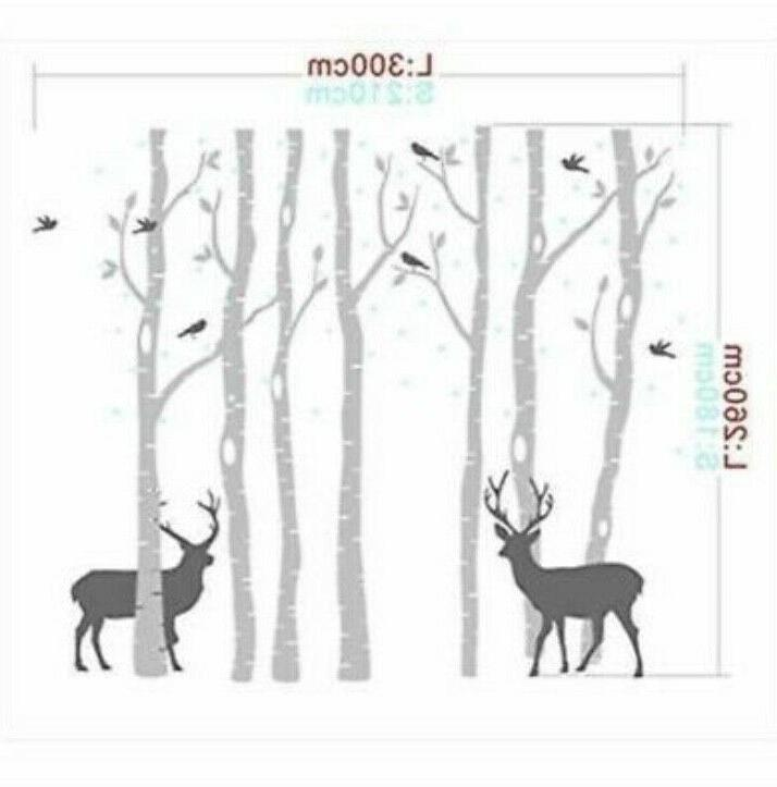 Removable Giant Huge Black On Withe Forest Tree 3D