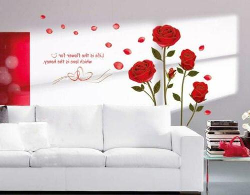 ufingodecor red rose removable wall stickers murals