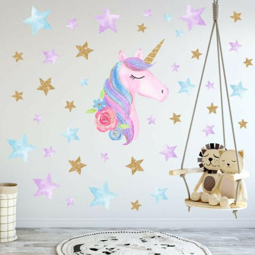 US Rainbow Unicorn Wall Sticker Girls Bedroom Wall