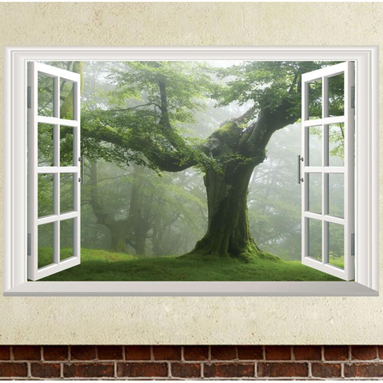USA STOCK Green Old Tree 3D Window Wall Sticker Vinyl Decal