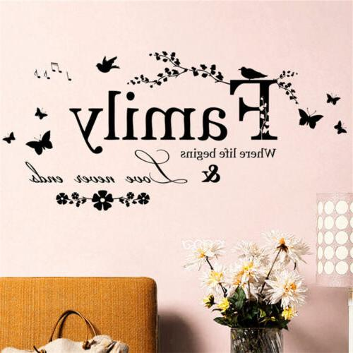 Removable Family Quote Word Decal Vinyl  Home Room Decor Art