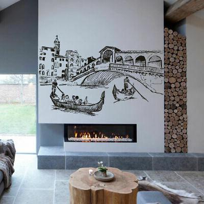 Wall Decal Sticker Skyline Town City Venice Italy water gond