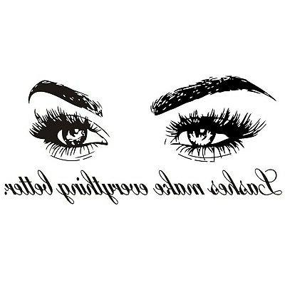 wall decals quote lashes make everything better