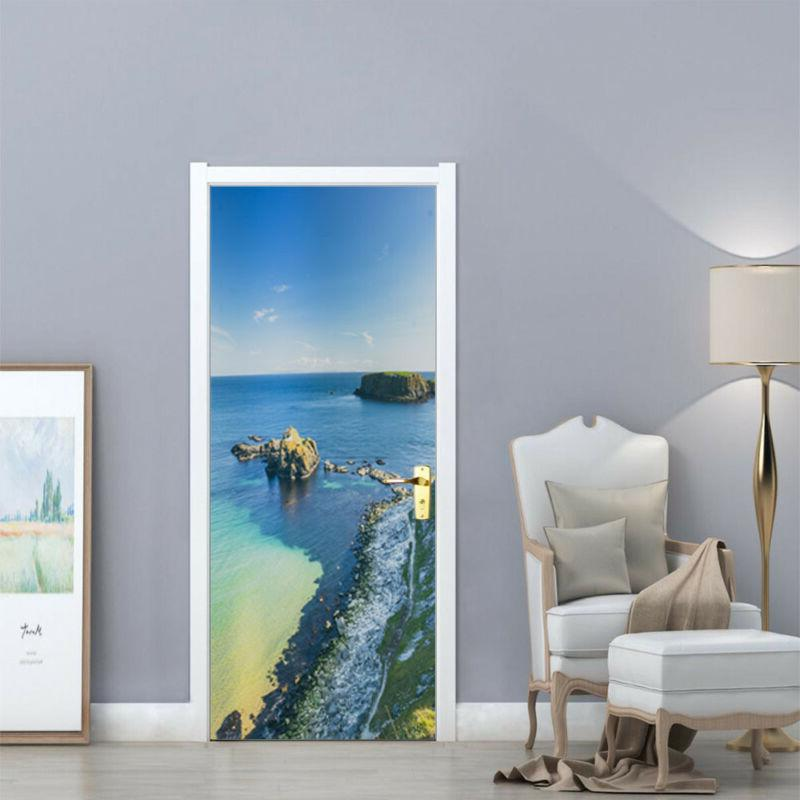 Wall Sticker Sea Beach View of 3D Stone Door Mural PVC Decal