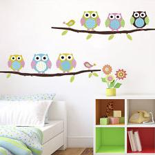 wall stickers Home Cute Colorful Owls /Flower/Tree nursery c