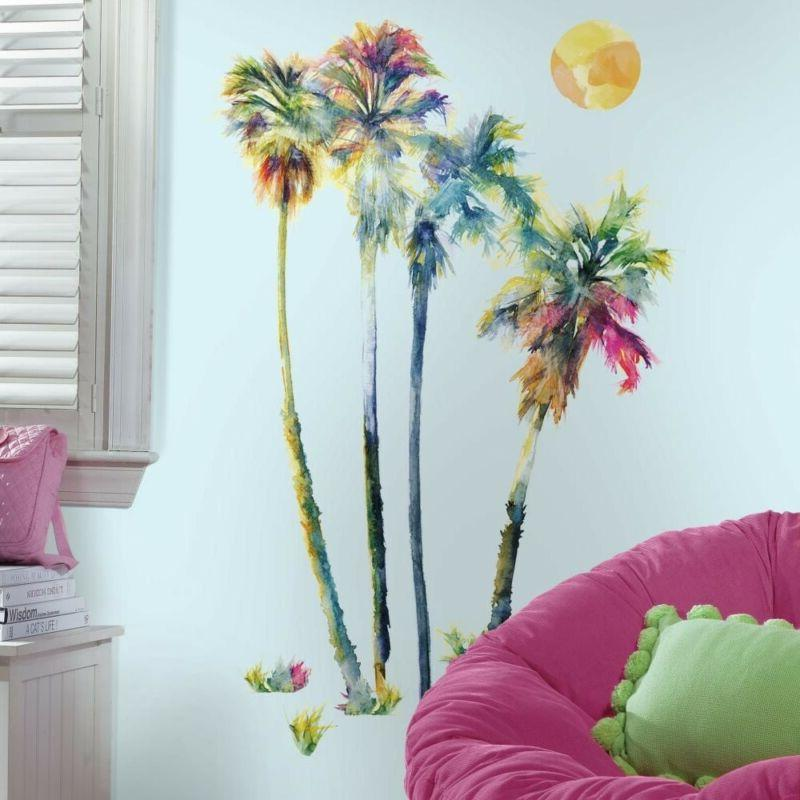 watercolor palm trees peel stick