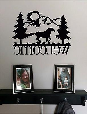 welcome and horse and mountains wall sticker
