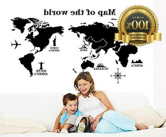 World Wall Decal - Removable Sticker - Peel and
