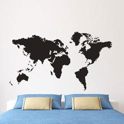 Large Black Map Of The World Wall Stickers Decal Vinyl Art H