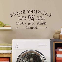 BATTOO Laundry Room Wall Decal - Wash Dry Fold Wall Stickers