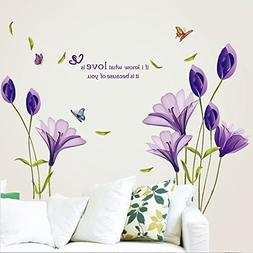 LiveGallery Beautiful Lovely Lily Flowers Wall Decals Remova