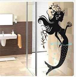 "DNVEN Black 16"" w X 32"" h Mermaid Bathroom Ocean Under the S"