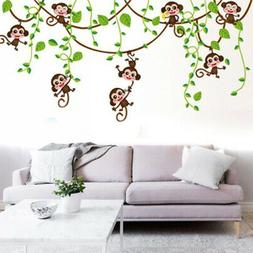 Monkey Tree Wall Stickers Kids Nursery Art Decal Paper Jungl