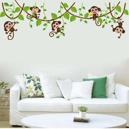Monkey Tree Birds Wall Stickers Kids Nursery Art Decal Paper