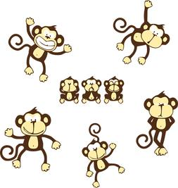 MONKEYS NURSERY Wall Decals Baby Cute NEW MURAL Jungle Anima