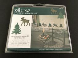 Moose & Green Pine Trees 25 New Wallies Rustic Country Cabin