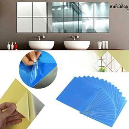 New 16PCS Acrylic Square Mirror Wall Stickers 5.9 by 5.9inch