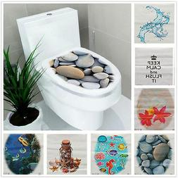 New 3D Toilet Seat Wall Sticker Bathroom Decal Vinyl Mural H