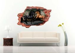 Nice Horse in Fight 3D Wall Decal  Nursery Vinyl Decal Stick