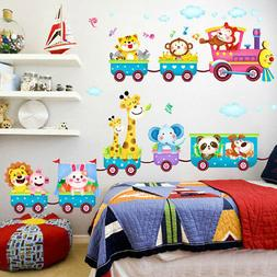 Animals Train Wall Stickers Nursery Decor Baby Kids Art Mura