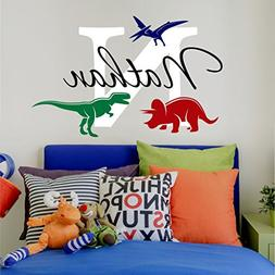 Nursery Boys Name and Initial Dinosaurs Personalized Name Wa