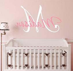 "Nursery Custom Name and Initial Wall Decal Sticker 34"" W by"