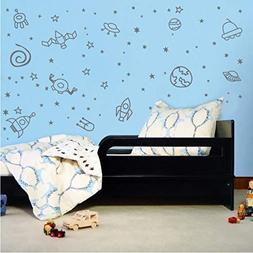 Outerspace Planet Galaxy Space Ship & Stars Boys Room Vinyl